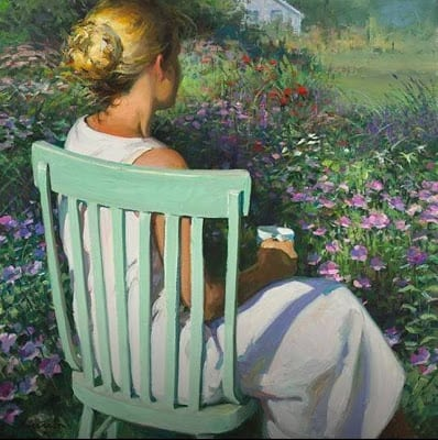 Just Think! Tomorrow Is A New Day...With No Mistakes In It Yet!, Green Chair by Jeffrey T. Larson, woman overlooking meadow, garden, thinking, meditating