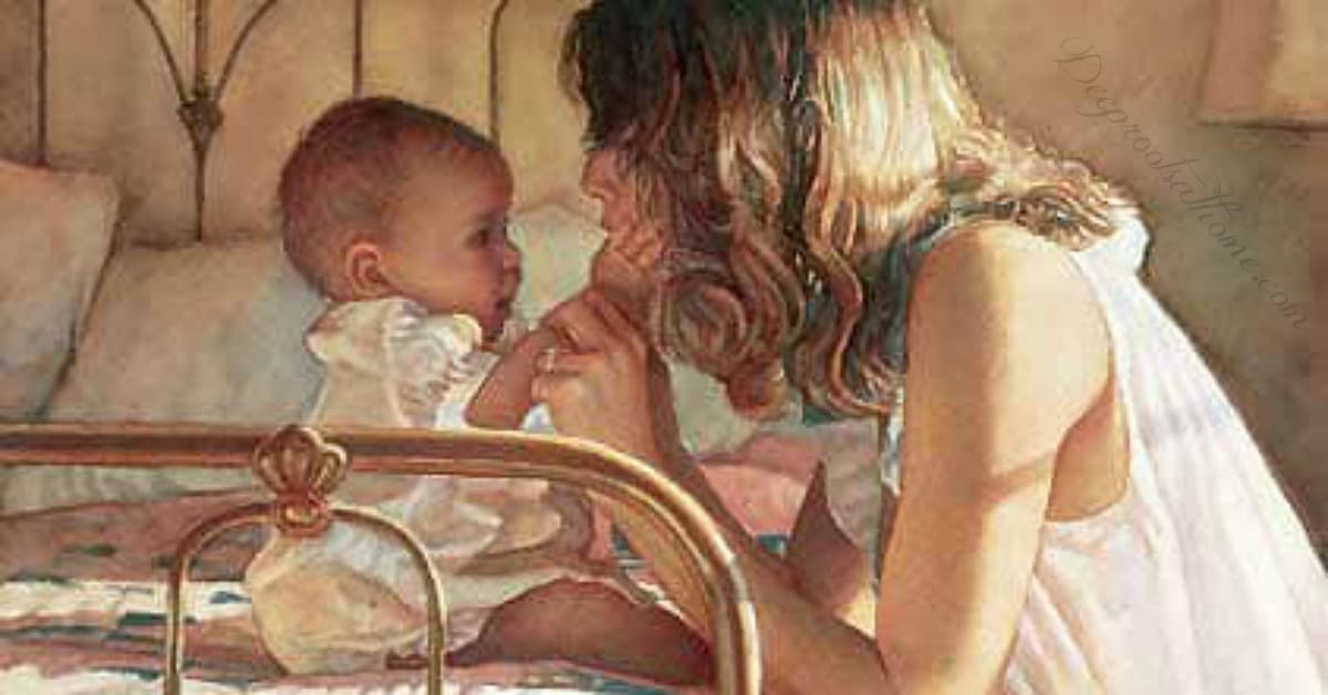 Just Think! Tomorrow Is A New Day...With No Mistakes In It Yet! Steve Hanks (1949, American), mother and child bond, painting,