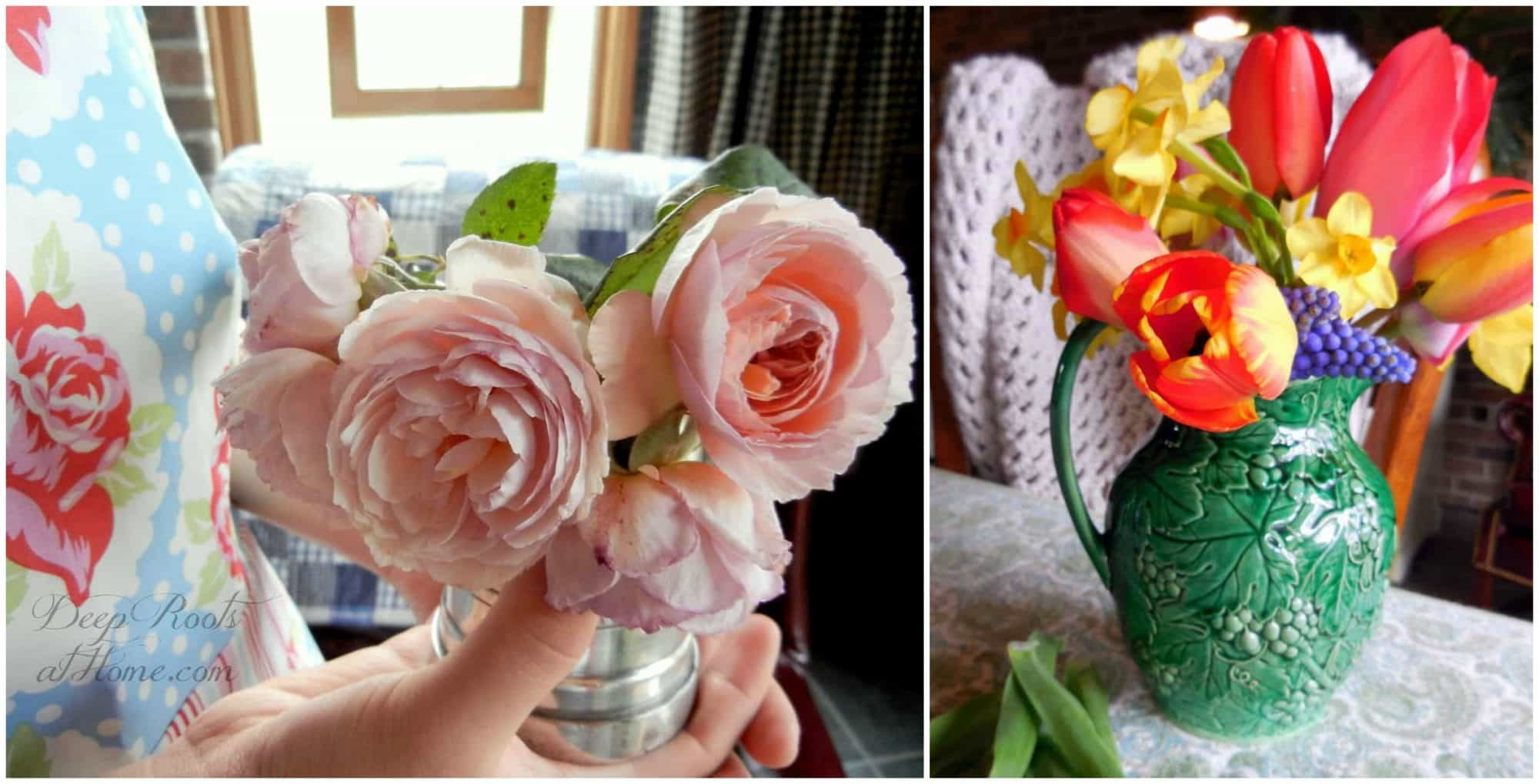 Cut Flowers On Your Table: The Secret To Long-Lasting Bouquets. Wisley roses and tulips and daffodils