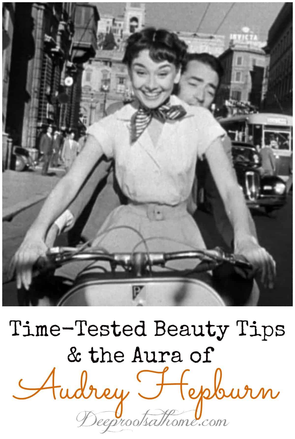 Time-Tested Beauty Tips and The Aura Of Audrey Hepburn. actress on bike with Cary Grant