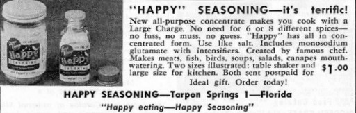 "An old ad, ""Happy"" Seasoning"