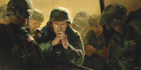 Army soldiers praying