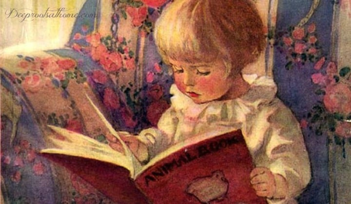 Jessie Wilcox Smith, painting of a young girl reading in a flowered wing chair