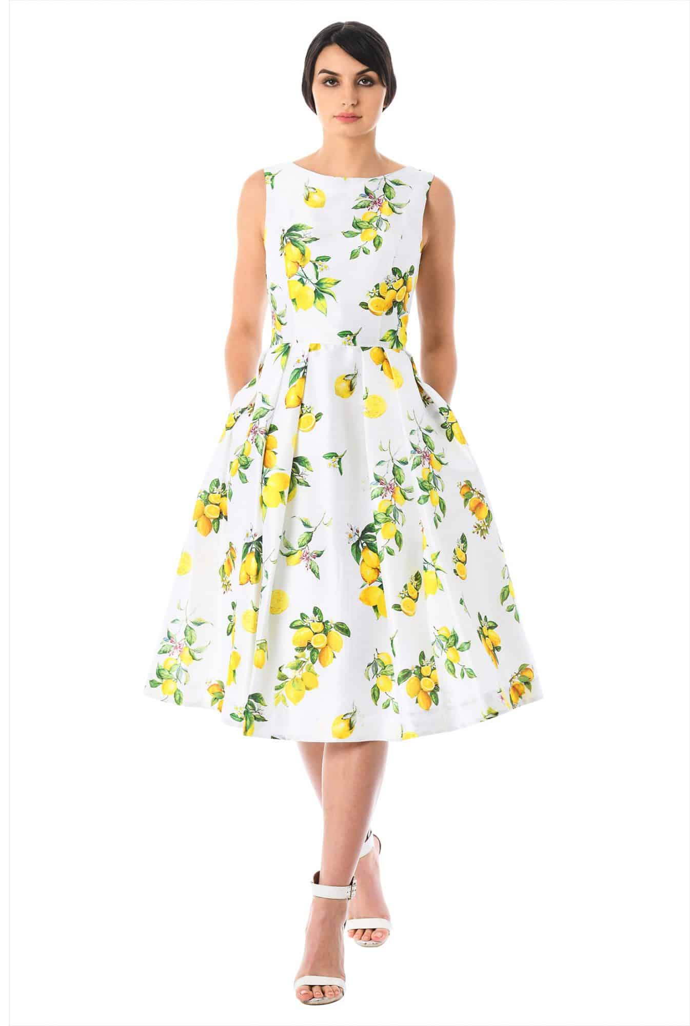 From Church To Wedding To Black Tie Event: Getting Dressy. A white summer dress with lemon and leaves.