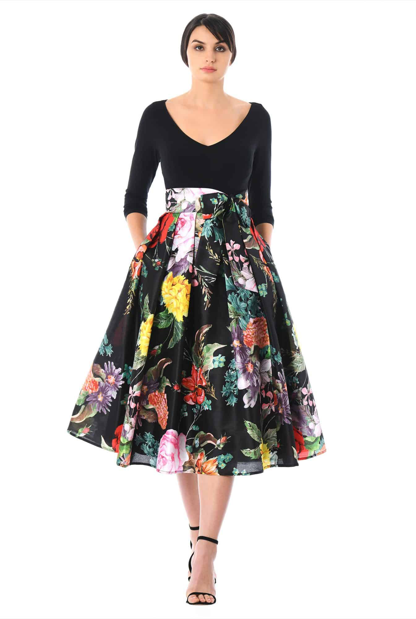 From Church To Wedding To Black Tie Event: Getting Dressy. An eShakti party dress with floral skirt and solid black top