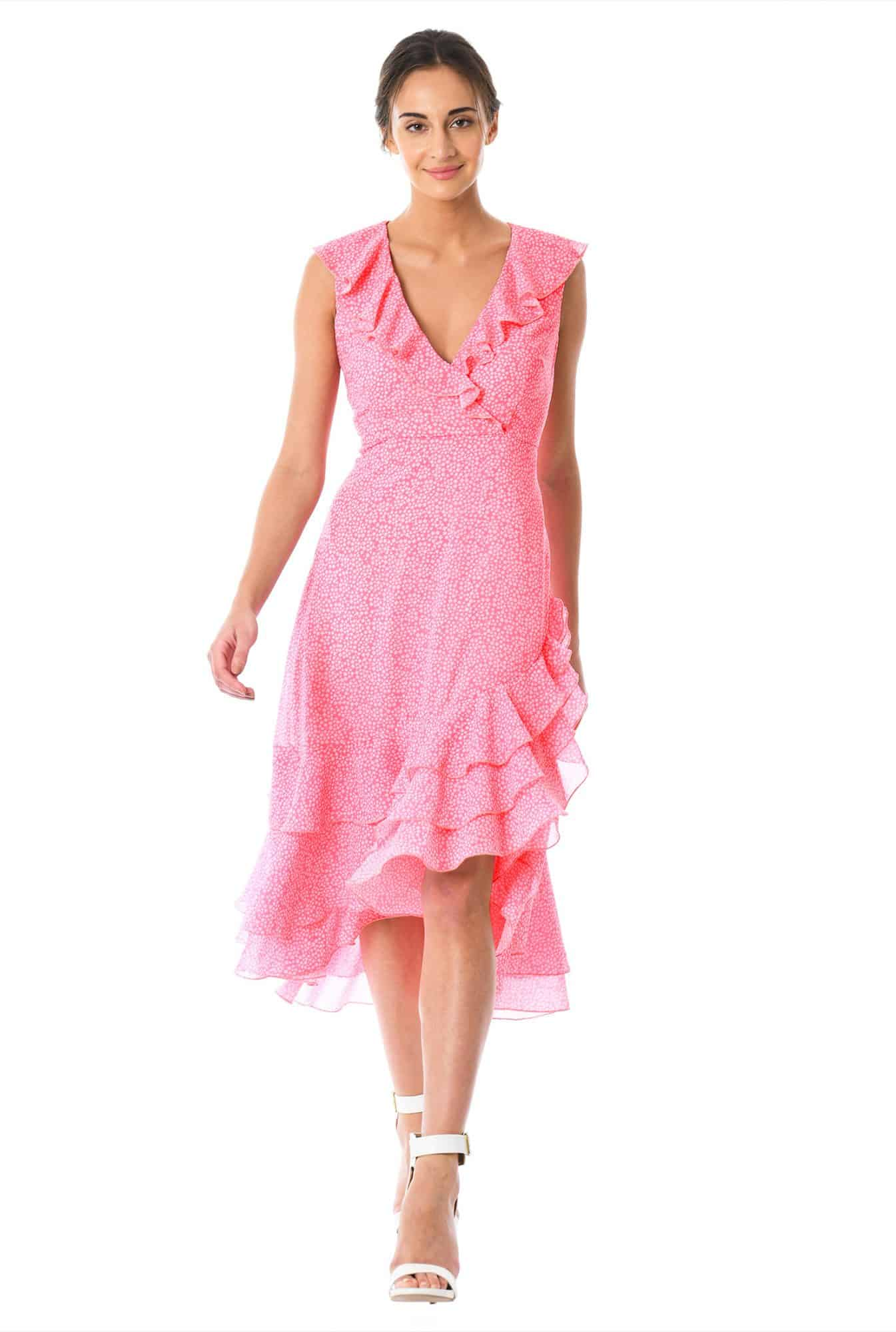 From Church To Wedding To Black Tie Event: Getting Dressy. A pink ruffled silk dress.
