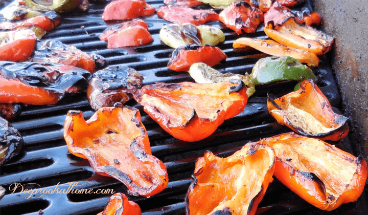 Fire Roasting And Freezing Colored Peppers From the Grill. sweet peppers, fire roasted