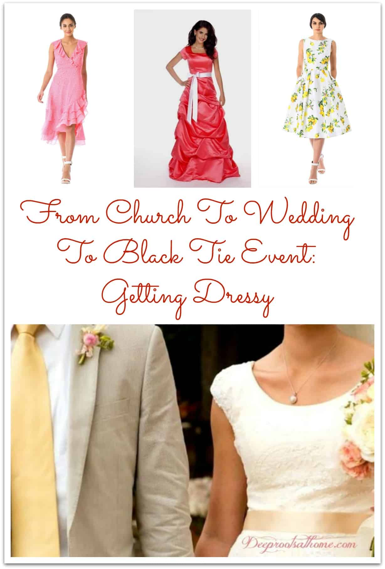 From Church To Wedding To Black Tie Event: Getting Dress. A bride in her wedding dress and the groom in his linen suit.