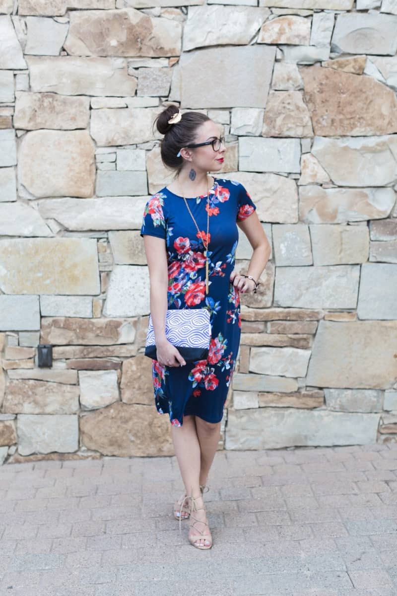 From Church To Wedding To Black Tie Event: Getting Dressy. A smashing floral summer dress of cobalt blue ground.