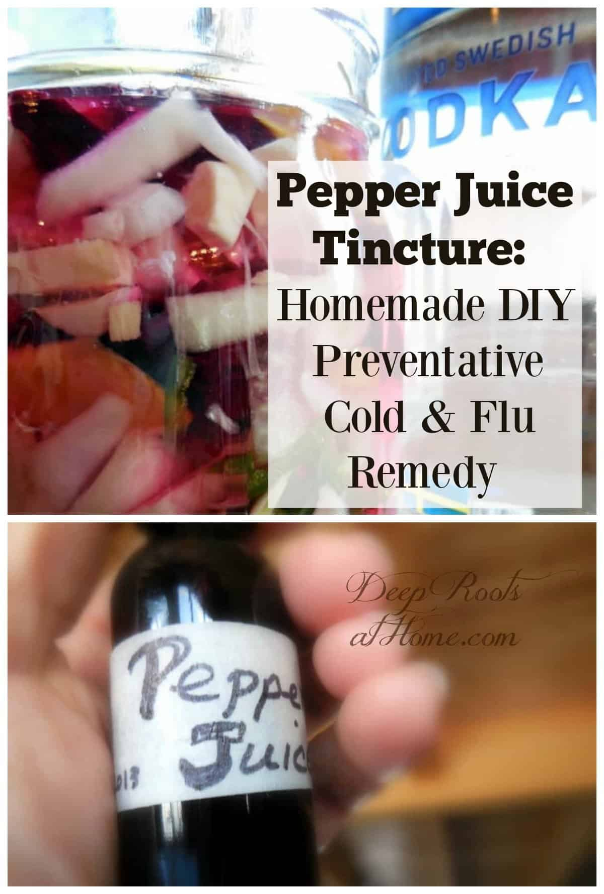 Pepper Juice Tincture: A Homemade Preventative Cold and Flu Remedy. Chopped up horseradish, red beets, ginger, garlic, on