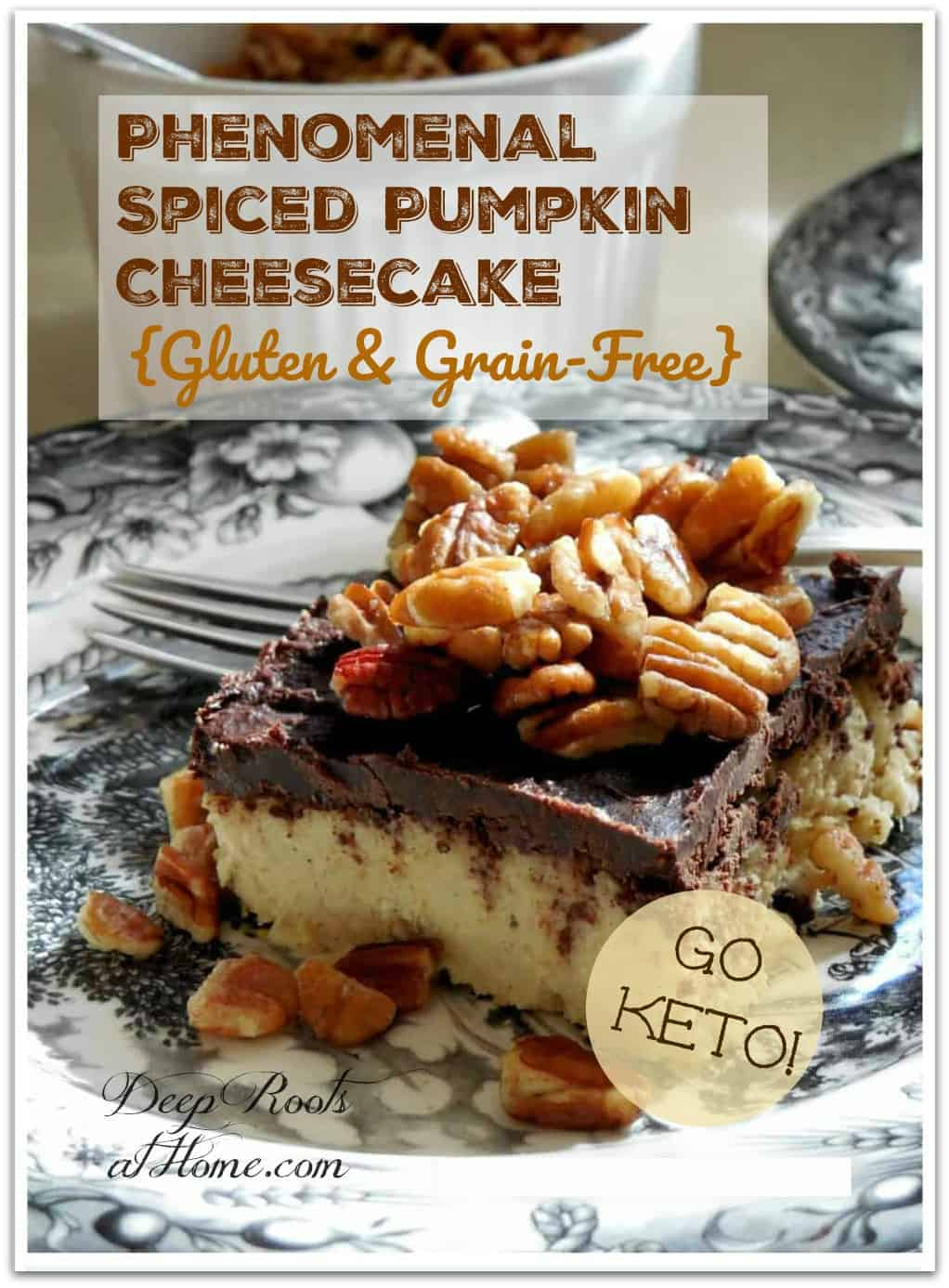 Phenomenal Spiced Pumpkin Cheesecake {Grain & Gluten-Free}. Pumpkin Cheesecake with a chocolate topping and toasted, salted pecans.