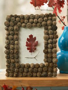 18 Classy, Natural Elements for Fabulous Fall Decor & Color. An acorn picture frame,