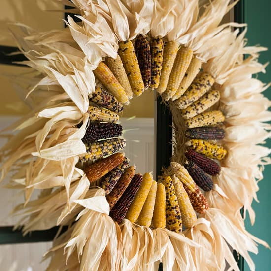 18 Classy, Natural Elements for Fabulous Fall Decor & Color. A front door Indian corn wreath