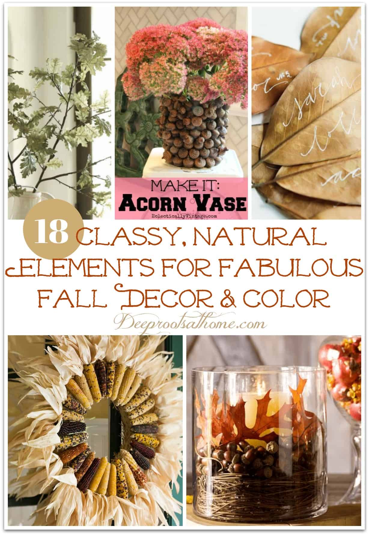 18 Classy, Natural Elements for Fabulous Fall Decor & Color. Fall decor of nature's materials.