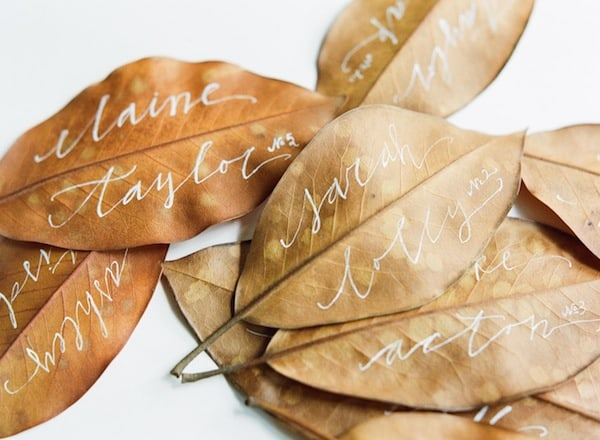 18 Classy, Natural Elements for Fabulous Fall Decor & Color. Name place cards hand written in a silver ink.