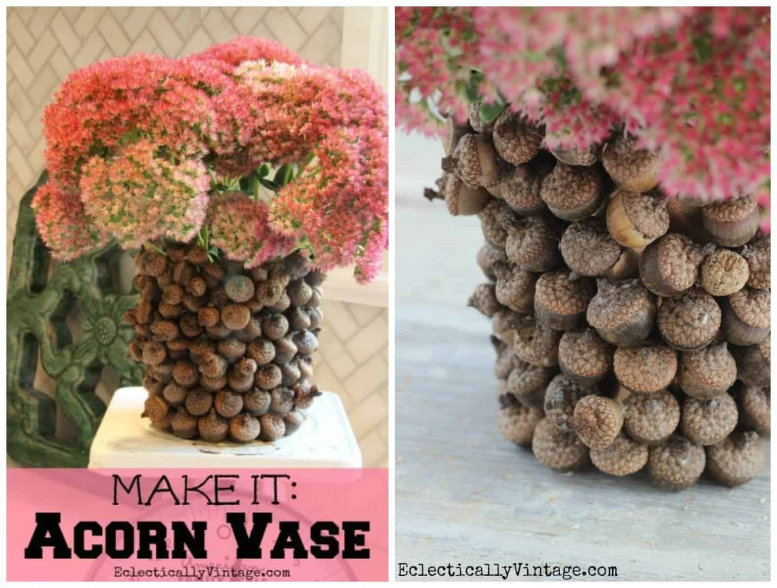 A handmade acorn vase with Autumn Joy sedum cuttings.