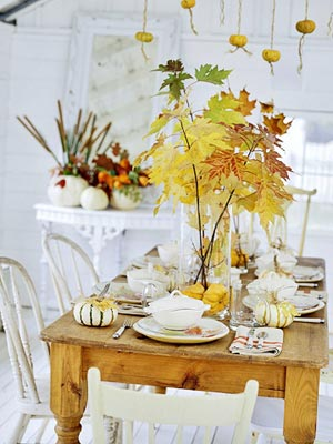 18 Classy, Natural Elements for Fabulous Fall Decor & Color. Table decorations: gold, red, orange branches, nature inspired,.
