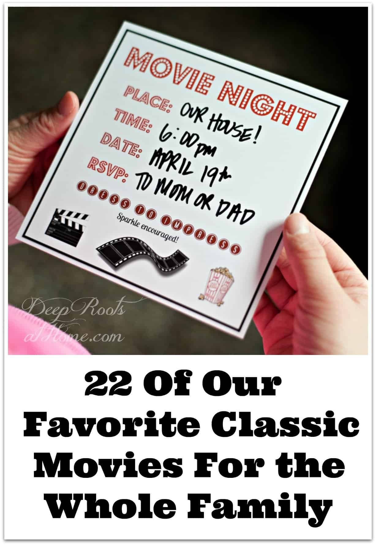 20 Of Our Favorite Classic Movies For the Whole Family. A family movie invitation.