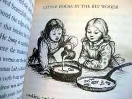 Maple Syrup Snow Ice Cream Like Laura Ingalls Ate In 'Little House'. Photo from my book: Laura Ingalls Wilder's family making maple syrup snow candy with a pan full of snow.