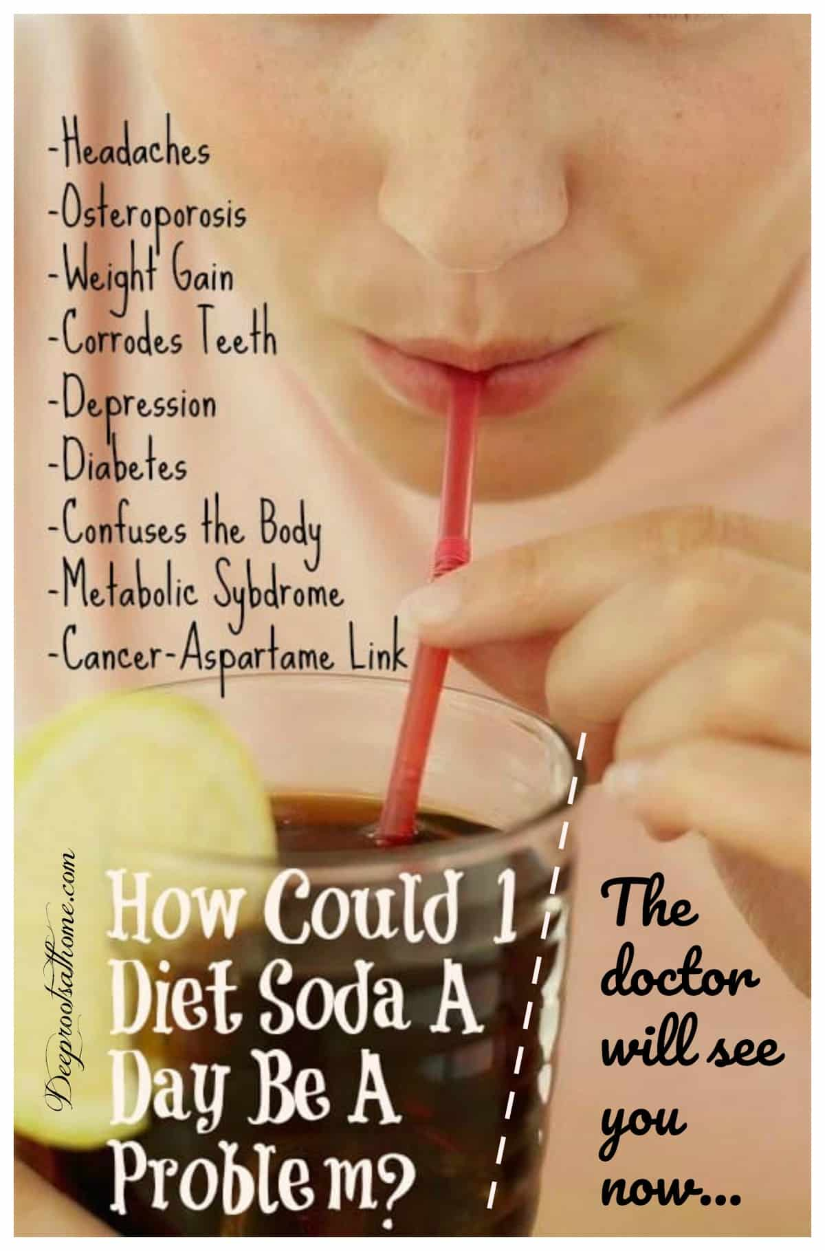 How Could A Diet Soda A Day Be A Problem? Here Are 8 Ways. drinking a soda through a straw.