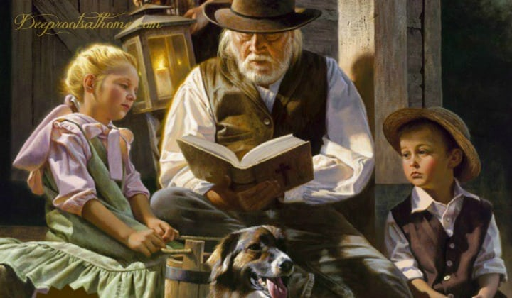 25 Beloved, Time-Tested Read Alouds For Young Children, A father reading to his listening children in the evening by lantern light on the front porch.