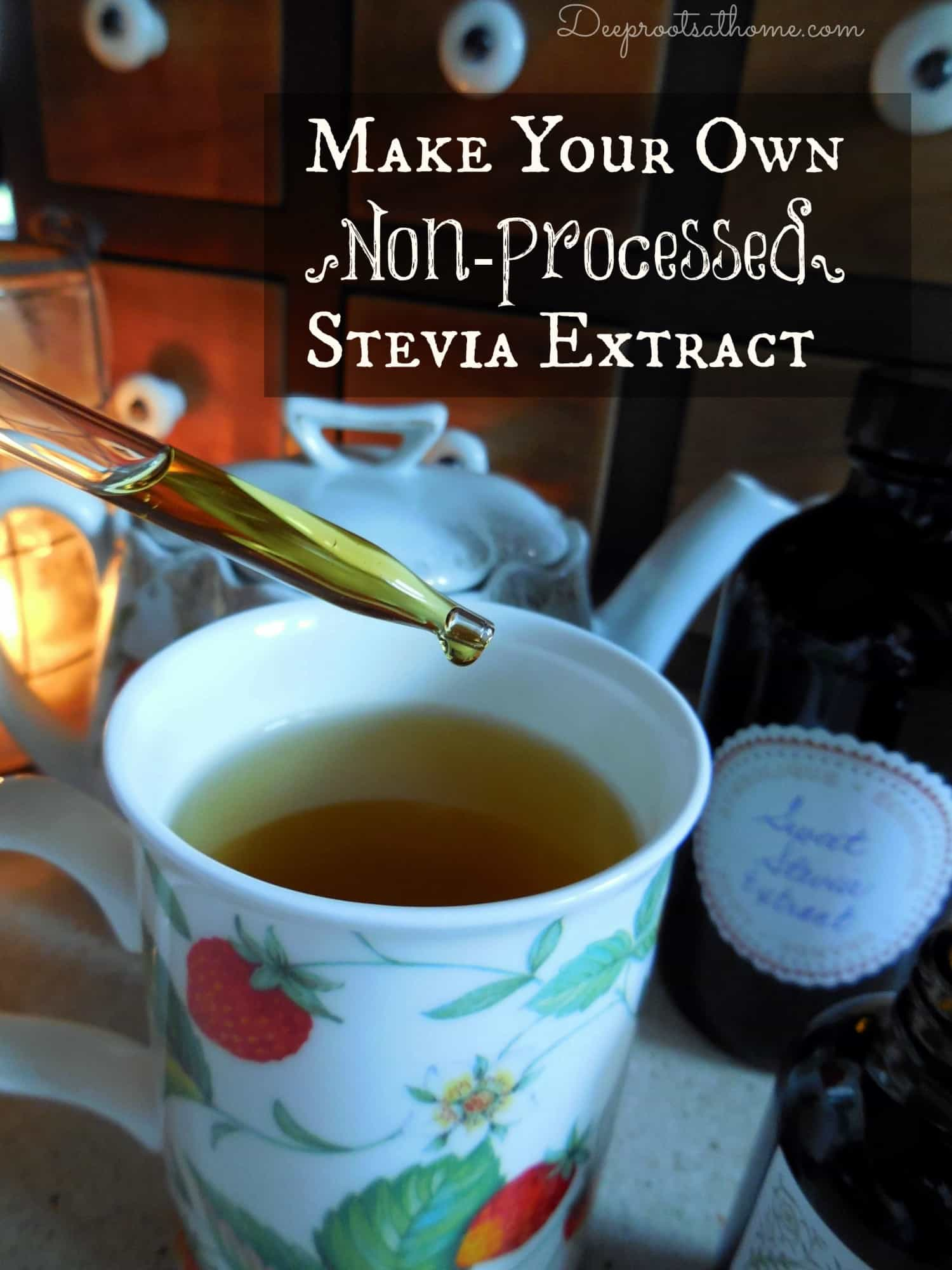 Make Your Own {Non-Processed} Stevia Extract {& Why I Do It}. dropper-ful of liquid stevia extract