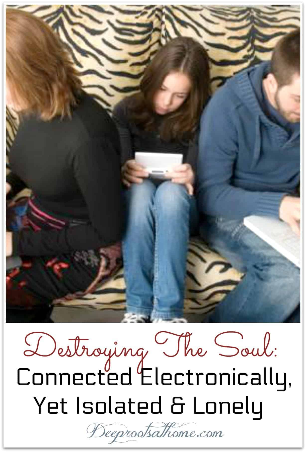 Destroying The Soul: Connected Electronically, Yet Isolated & Lonely. people looking down on devices