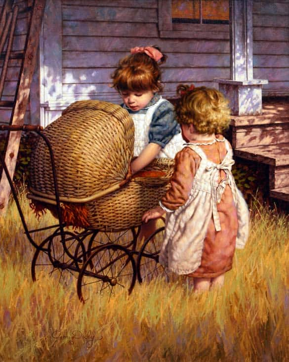 Are We Starving The Hearts Of Our Children? little girls with baby stroller, wicker doll carriage