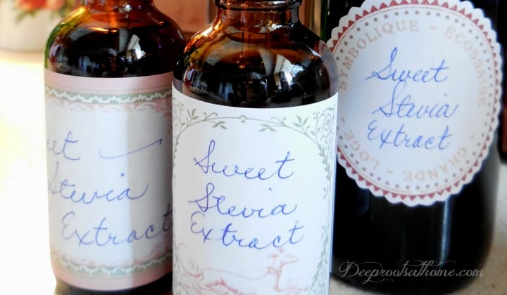 Make Your Own {Non-Processed} Stevia Extract {& Why I Do It}. bottles containing stevia liquid