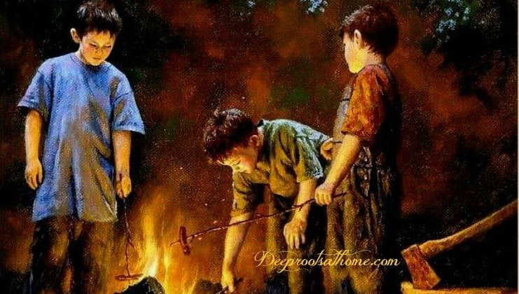Are We Starving The Hearts Of Our Children? 3 boys around the fire, building a fire with sticks