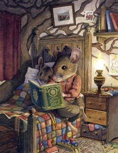25 Beloved, Time-Tested Read Alouds For Young Children. Mother mouse reading a bedtime story to little mouse in the cottage by lamplight.