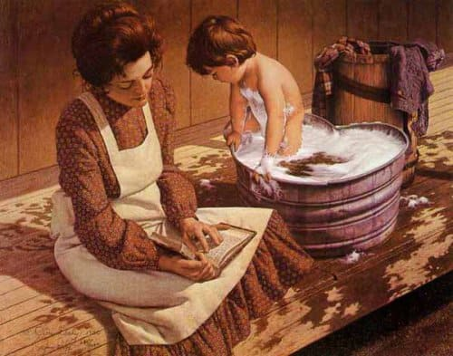 Are We Starving The Hearts Of Our Children? alittle boy taking bath, galvanized tub,