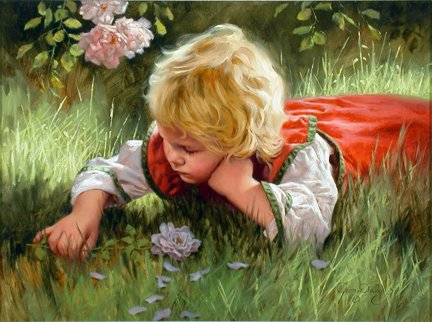 Are We Starving The Hearts Of Our Children? girl lying in the grass, looking at the grass, flowers,