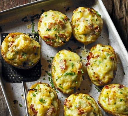 twice baked potatoes with Parmesan chive butter