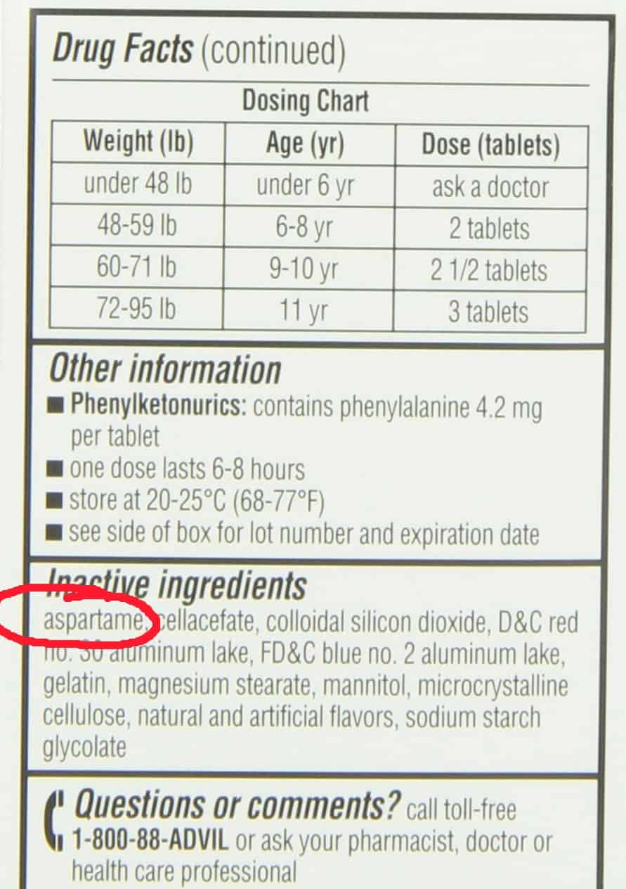 50+ Aspartame-Containing Products To Avoid. ingredients label that includes aspartame