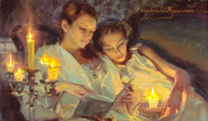 The Investment & Gift of Time ~ A Mother's Treasure. Mother and 3 daughters reading by candlelight