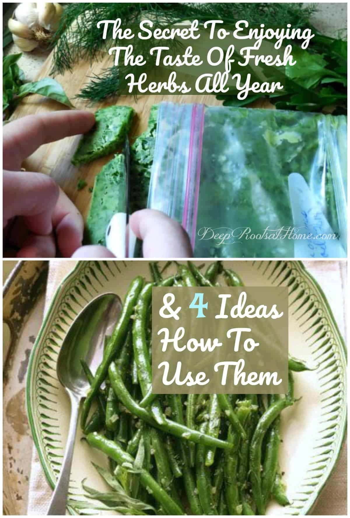 The Secret To Enjoying The Taste Of Fresh Herbs All Year. The frozen herbs both in the freezer bag and in the recipe.
