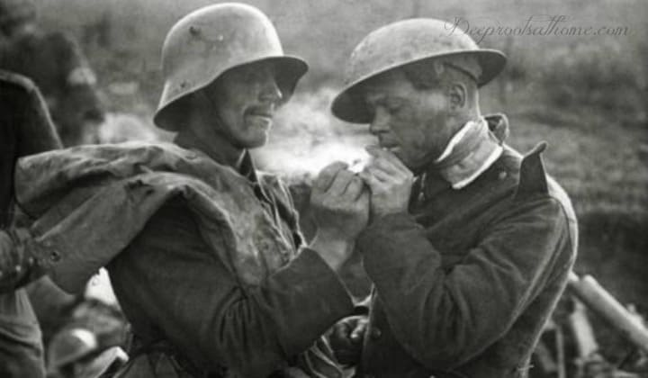 The World War I Christmas Truce: 100 Years Later. Enemies smoking during the truce.