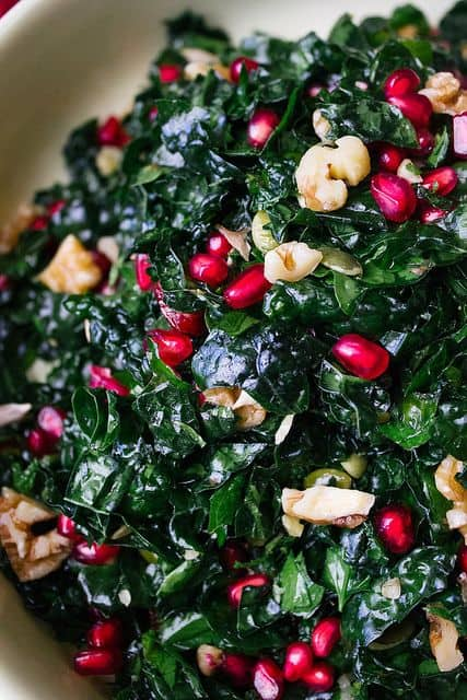 29 Festive Pomegranate Recipes & De-Seeding Video. Kale and Pomegranate Salad {Simple Provisions}