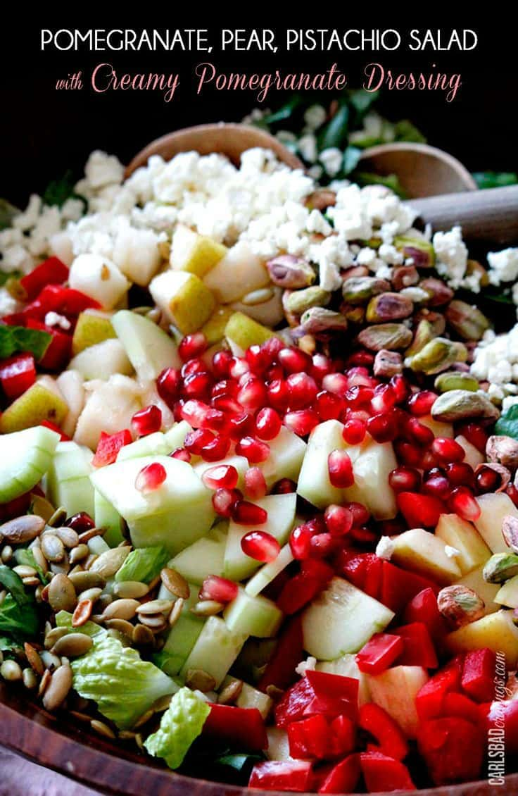 29 Festive Pomegranate Recipes & De-Seeding Video. Pomegranate, Pear, Pistachio Salad with Creamy Pomegranate Dressing {Carlsbad Cravings}