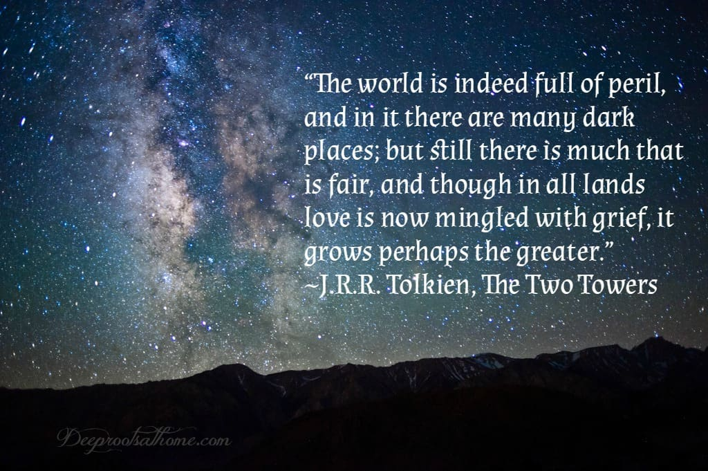 "J.R.R. Tolkien: More Than Meets the Eye, stories, quotes, Christian theology, trilogy, creation, incarnation, salvation, The Fellowship of the Ring, The Two Towers, The Return of the King, creative license, ""On Fairy-stories"", Jon Bloom, desiringGod.com, miraculous grace, mercy, happy ending, myth, Middle-earth, Bilbo, Louis markos, On Shoulders of Hobbits, evangelium, the gospel, eucatastrophe, joy, Edith Bratt, C.S. Lewis, fantasy, parenting, homeschool, reaching, children's books, read-aloud books, Chronicles of Narnia, The Hobbit or There and Back Again, philology, Mabel Tolkien, The Lord of the Rings, LOTR, Dyson, conversion story, birth of Christ, reality, fairy tales, languages, Exeter, Oxford, WWI,"