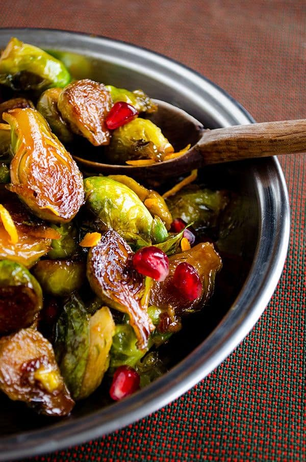 29 Festive Pomegranate Recipes & De-Seeding Video. Caramelized Brussels Sprouts with Orange & Lemon Juice & Pomegranate Molasses  {Give Recipe}