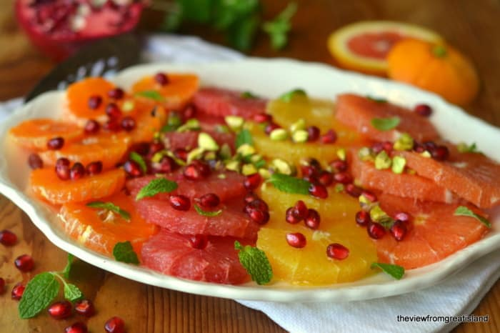 Citrus Salad with Pomes, Mint, & Pistachio  {The View From Great Island}