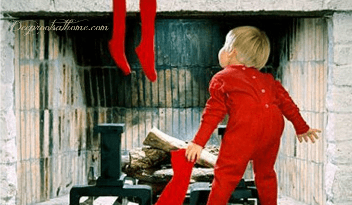 The Santa Question: What Do You Tell Your Children? A red pajama'd little boy looking up the chimney for St. Nicholas at Christmas