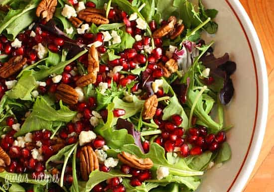 Mixed Baby Greens with Pome Seeds, Gorgonzola and Pecans  {Gina's Skinny Recipes}
