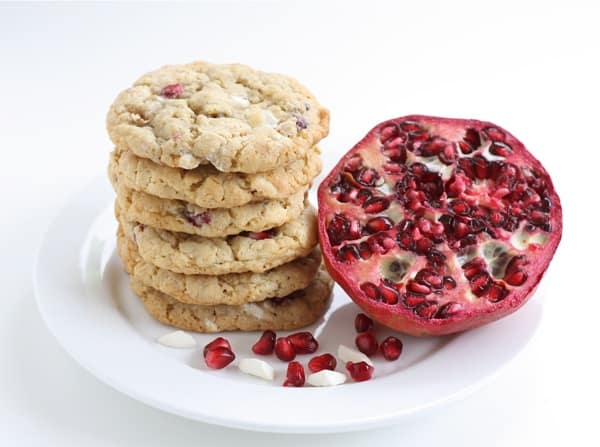 29 Festive Pomegranate Recipes & De-Seeding Video.  Pomegranate White Chocolate Chunk Cookies  {Two Peas & Their Pod}
