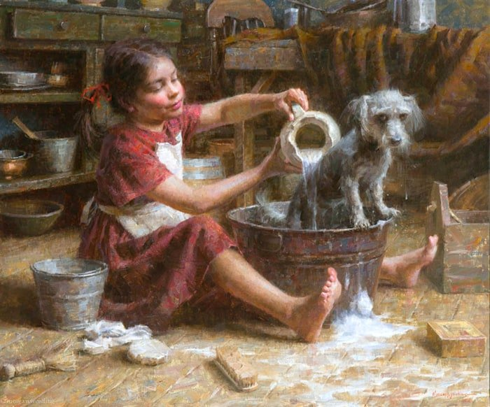 Painting: Rosie's Bath by Morgan Weistling,
