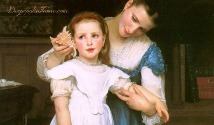 Titus 2 Advice To Mothers In Painting & Quotes. Painting: The Shell by William-Adolphe Bouguereau