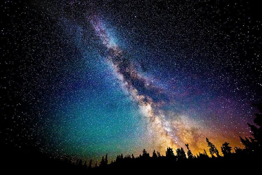 The Biggest Case for God: Science Itself. An image of the greater universe with the Milky Way at night.