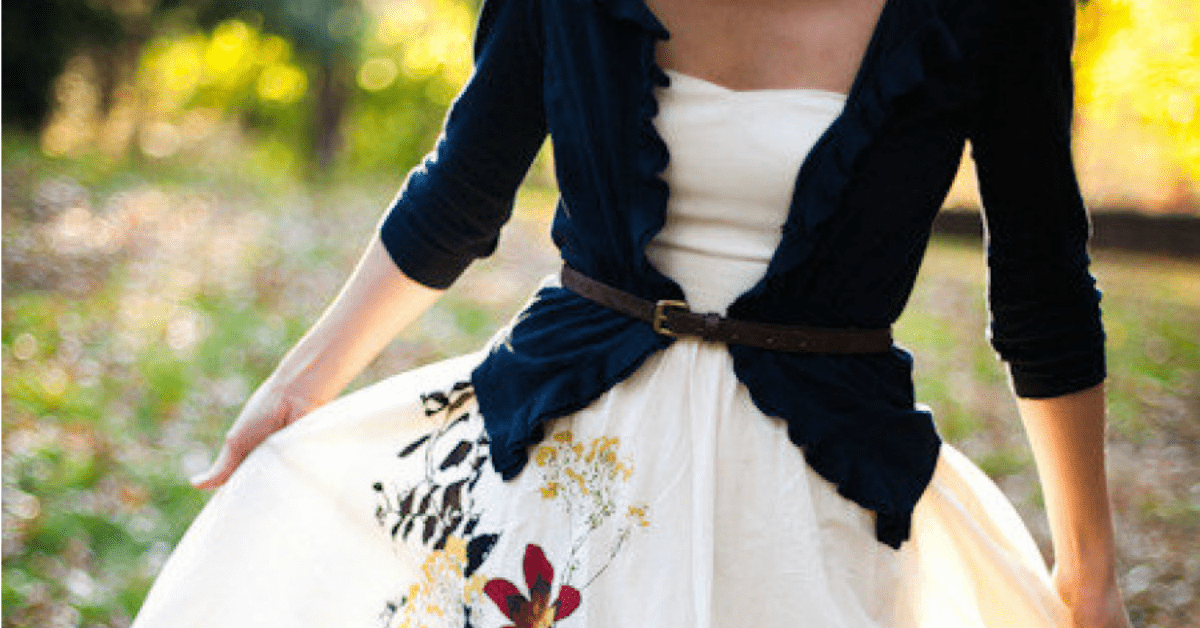 25 Classic Ladylike Looks: Summer Into Fall, graceful woman in a floral dress with a cardigan sweater